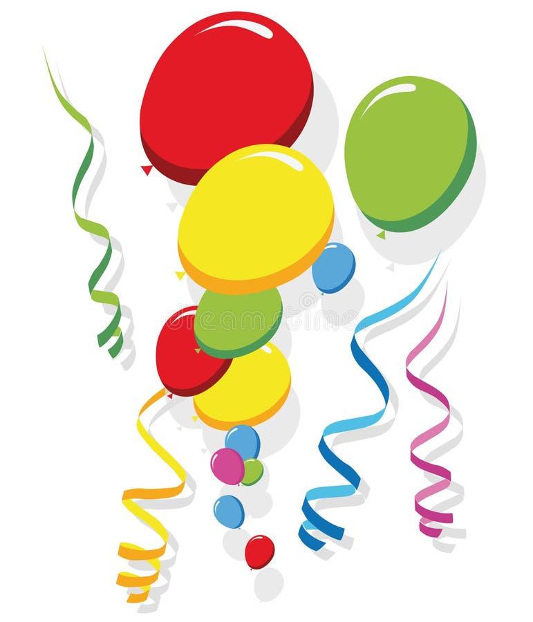 Воздушные шары и ленты иллюстрация штока