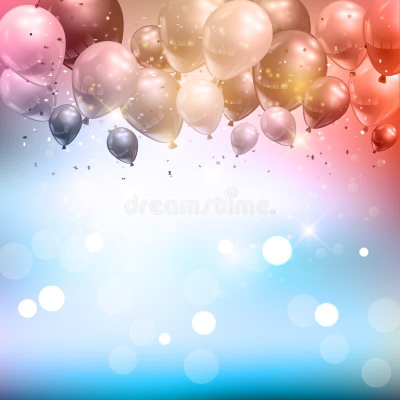 Воздушные шары и предпосылка confetti иллюстрация штока