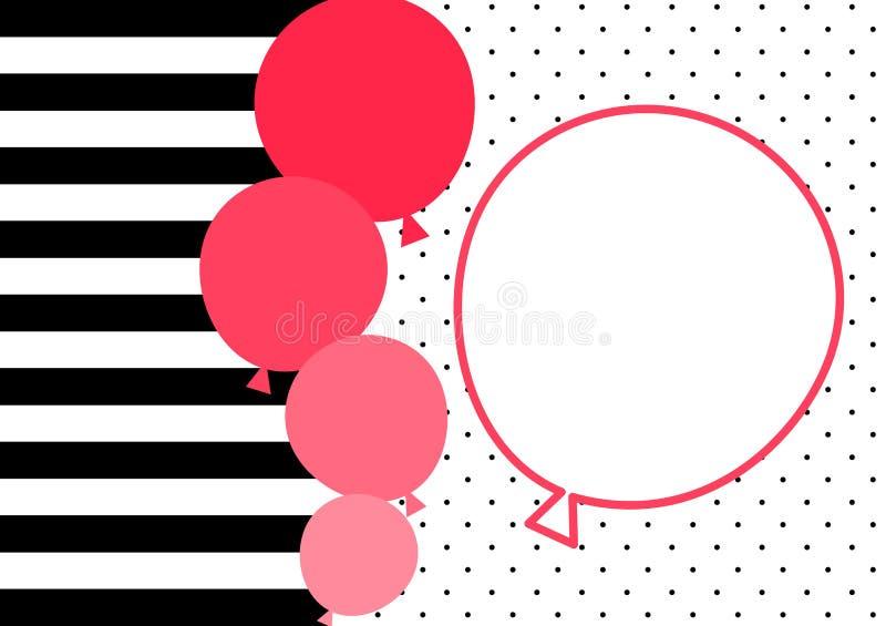 Нашивки и карточка приглашения воздушных шаров пинка иллюстрация вектора