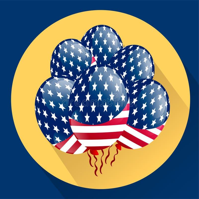 Воздушные шары США патриотические покрашенные специально для четверти от июля Цвета соотечественника страны иллюстрация вектора