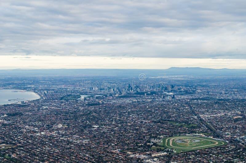 воздушный взгляд небоскребов множества Австралии melbourne стоковое фото