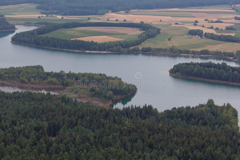 воздушный взгляд озера стоковое фото