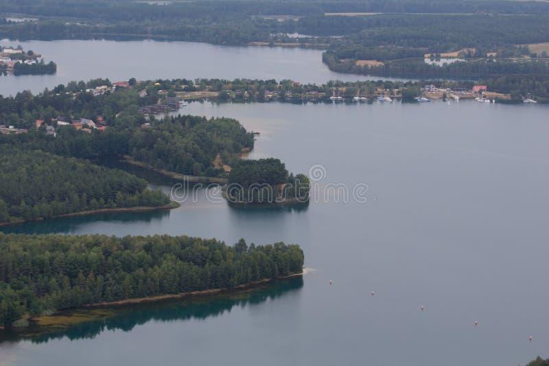 воздушный взгляд озера стоковые изображения rf