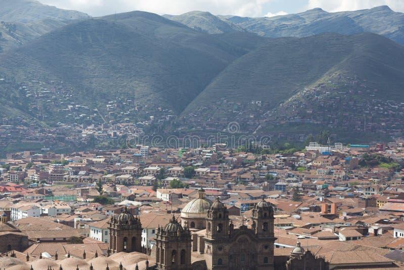 Воздушный вид на город Cusco на Площади de Armas, Перу стоковые фотографии rf