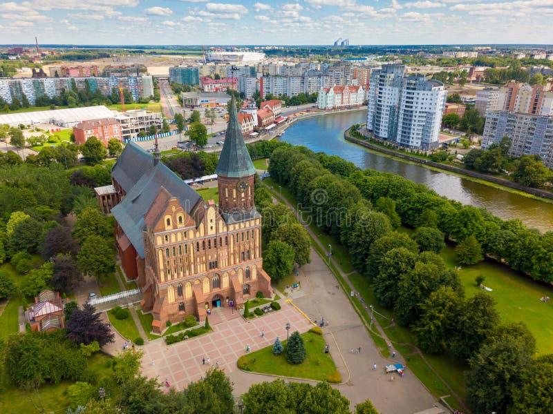 Воздушный городской пейзаж острова Kant в Калининграде, России стоковое изображение rf