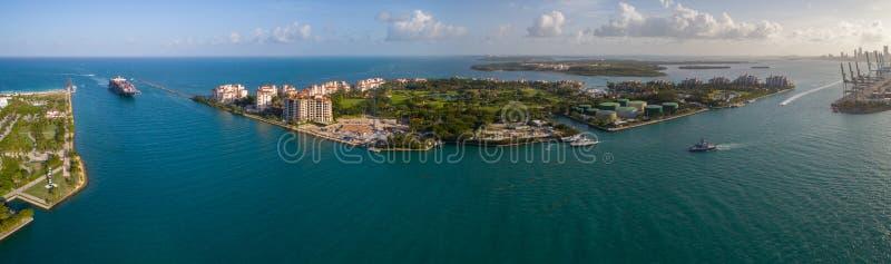 Воздушный остров Miami Beach Fisher панорамы стоковая фотография