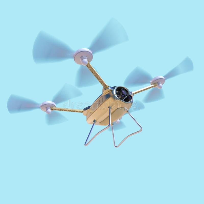 Воздушный трутень робота, quadrocopter, с летанием камеры в голубом небе Концепция завиша multycopter представляет иллюстрация штока