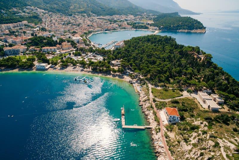 Воздушный трутень Makarska фото, Хорватия стоковое фото rf