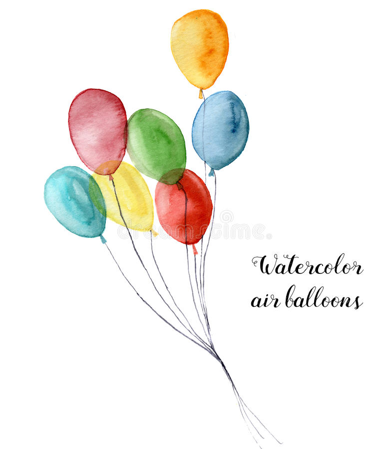 воздушный шар акварели Вручите покрашенные объекты партии изолированные на белой предпосылке Приветствовать объект для дизайна ил иллюстрация штока