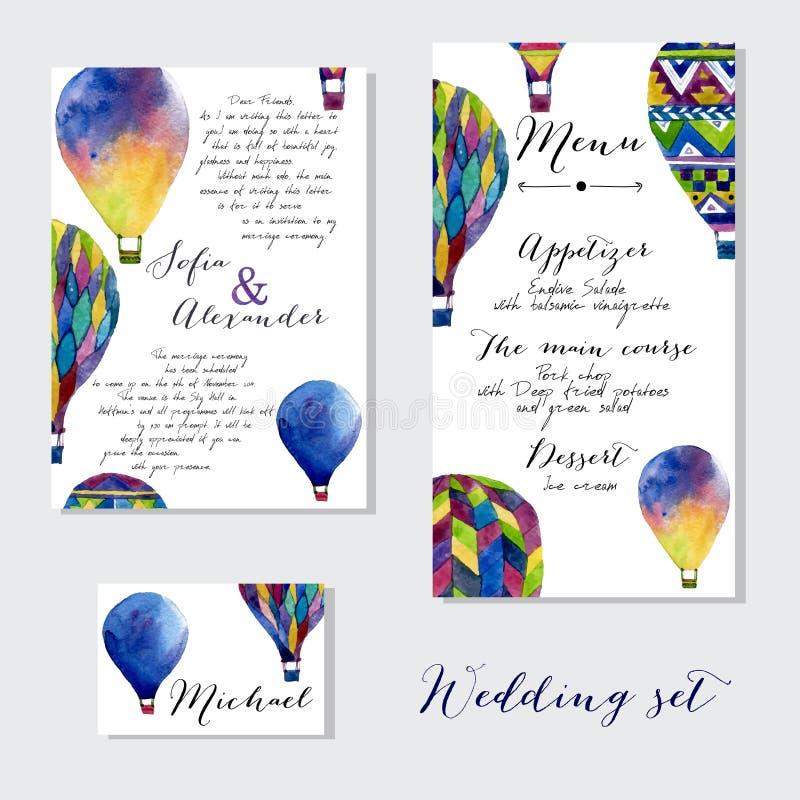 Воздушный шар акварели горячий на приглашении свадьбы стоковое изображение