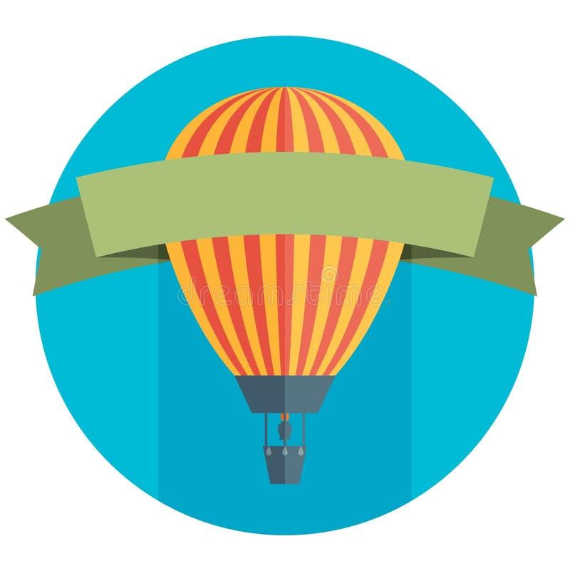 Воздушный шар и предпосылка знамени иллюстрация штока
