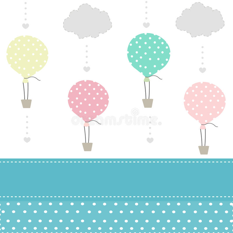 Воздушный шар и предпосылка картины младенца облаков иллюстрация штока
