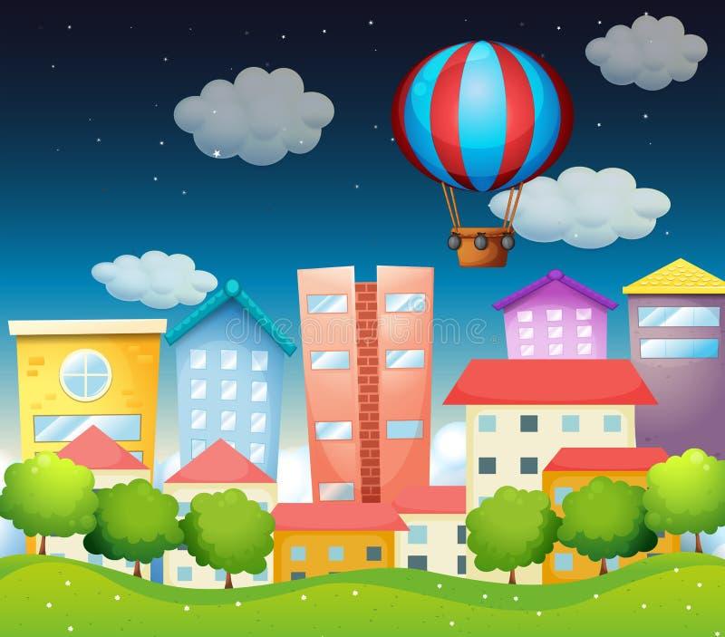Воздушный шар на городе иллюстрация штока