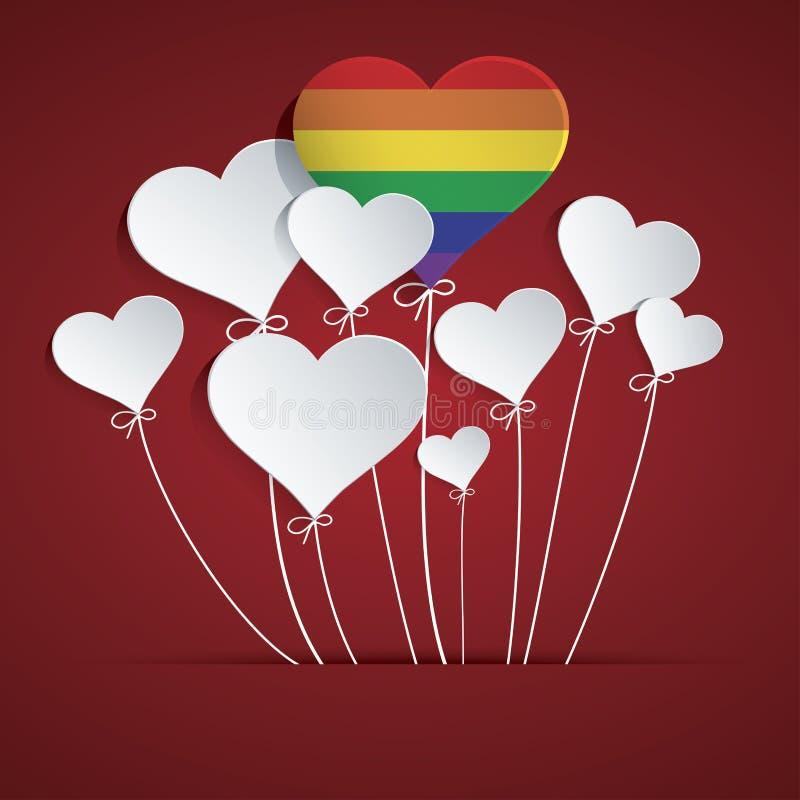 Воздушный шар сердца радуги бесплатная иллюстрация