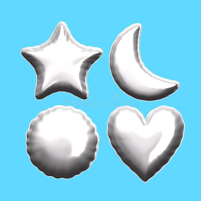 Воздушный шар сердца луны звезды серебряной фольги круглый иллюстрация штока