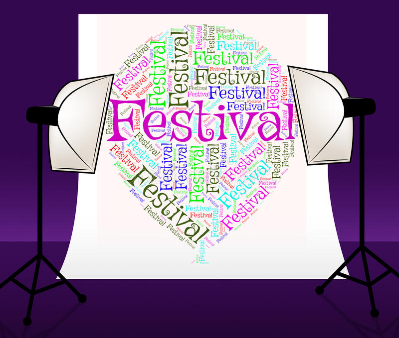 Воздушный шар фестиваля значит концерт и праздненства текста бесплатная иллюстрация