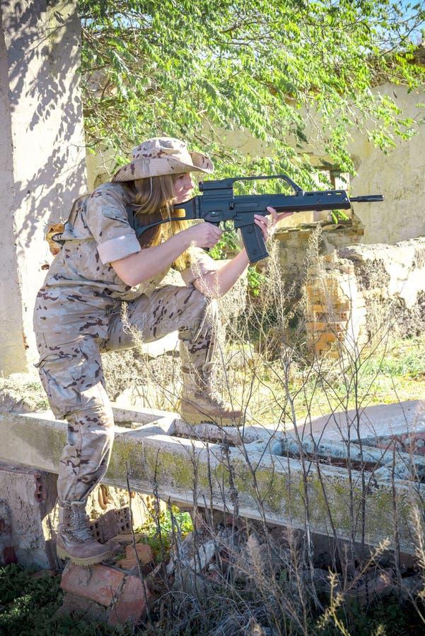 Воинская девушка стоковое фото rf