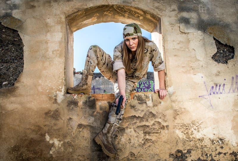 Воинская девушка стоковая фотография