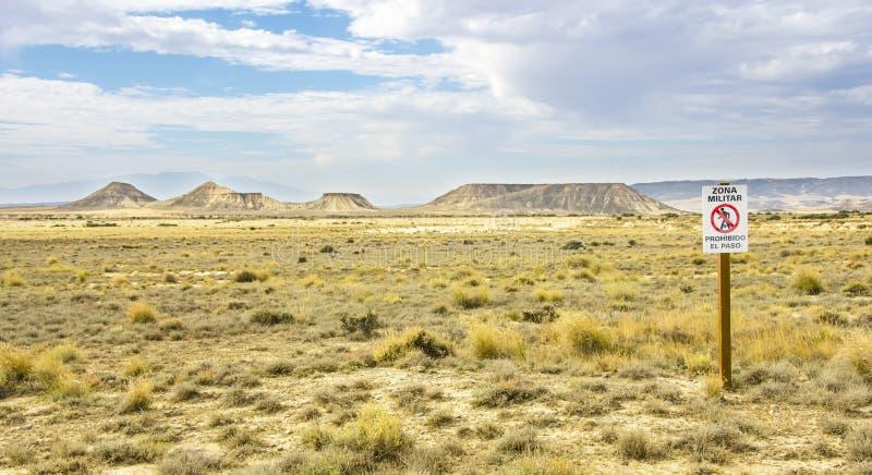 Воинская зона в пустыне Bardenas Reales стоковые изображения rf