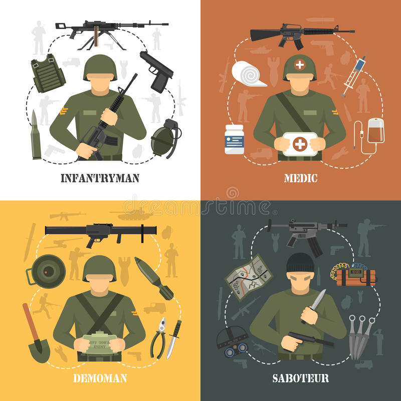 Воинские квадрат значков армии 4 плоский бесплатная иллюстрация