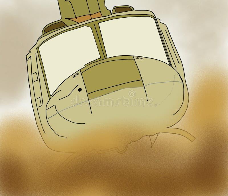 Воинский вертолет летает в пустыню стоковые фотографии rf