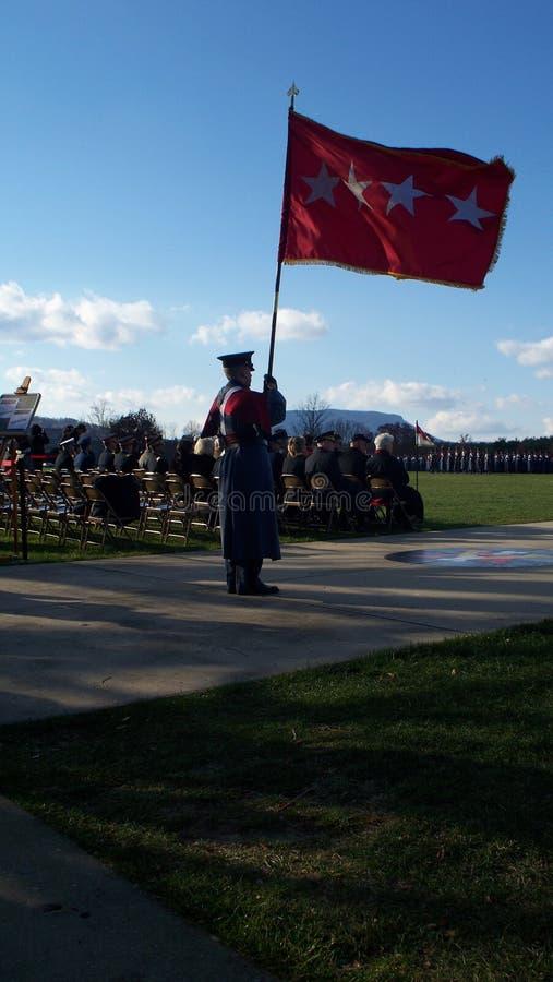 Воинский кадет на параде стоковое фото