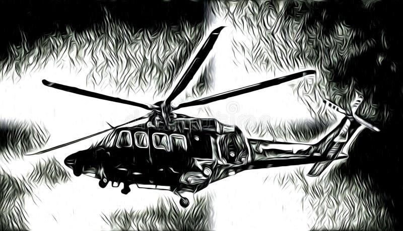 Воинский чертеж конспекта иллюстрации дизайна искусства вертолета бесплатная иллюстрация