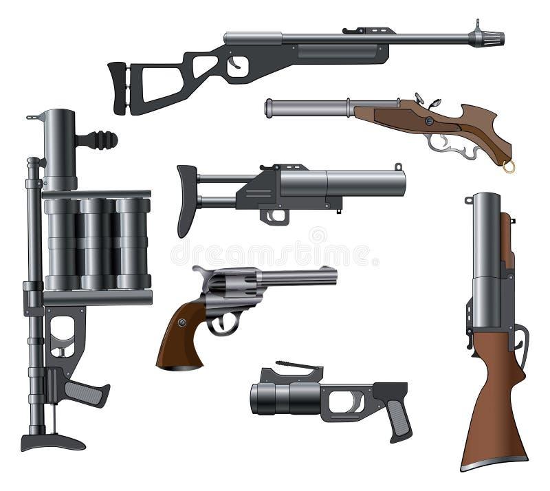 Воинское оружие установленное для компютерной игры иллюстрация штока