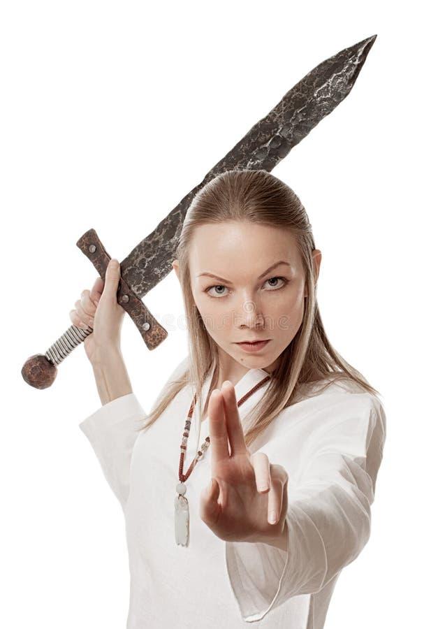 Воинствующая девушка стоковая фотография rf