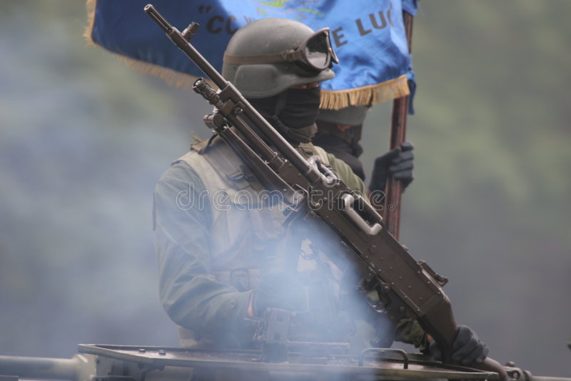 воин дыма пушки Стоковые Фотографии RF