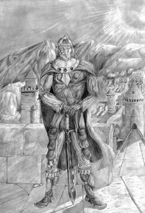 Воин на стене со шпагой иллюстрация вектора