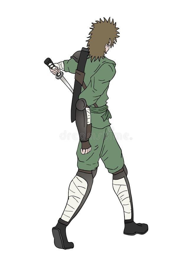 Воин с иллюстрацией притяжки шпаги иллюстрация штока