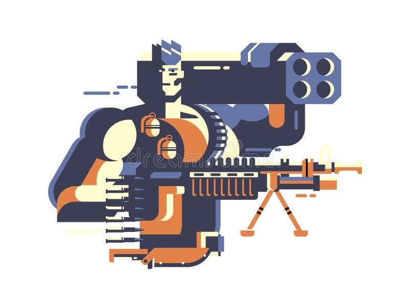 воин с пушкой иллюстрация вектора