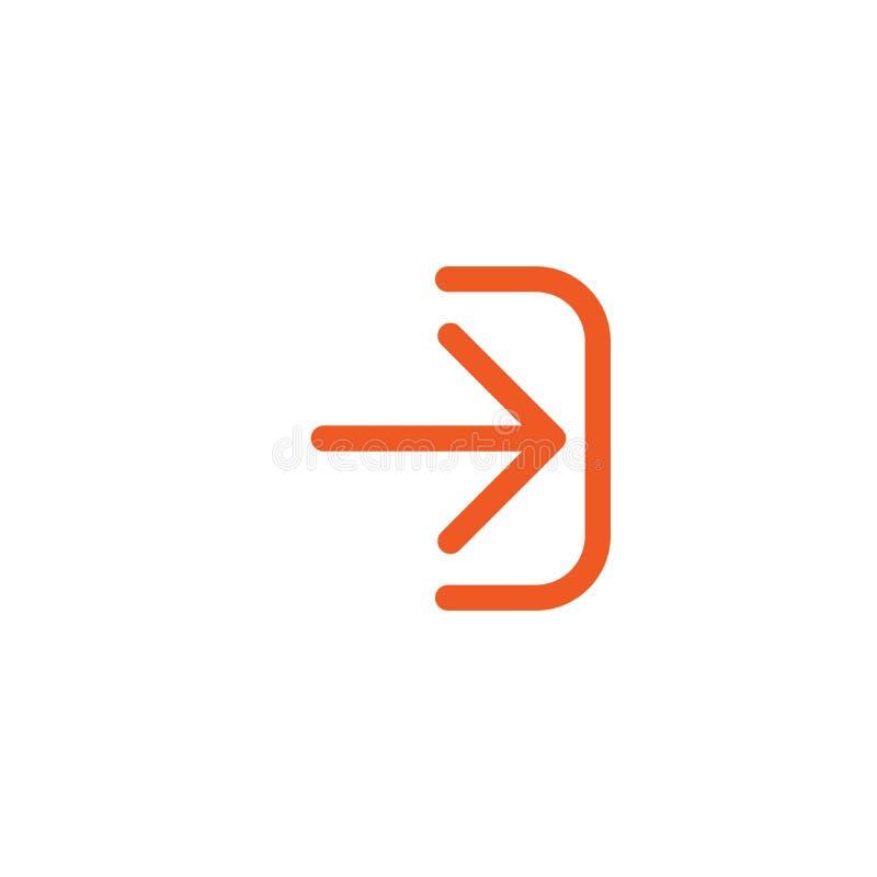 Войдите в или значок имени пользователя Изолировано на белизне красная тонкая правая округленная стрелка с кронштейном бесплатная иллюстрация