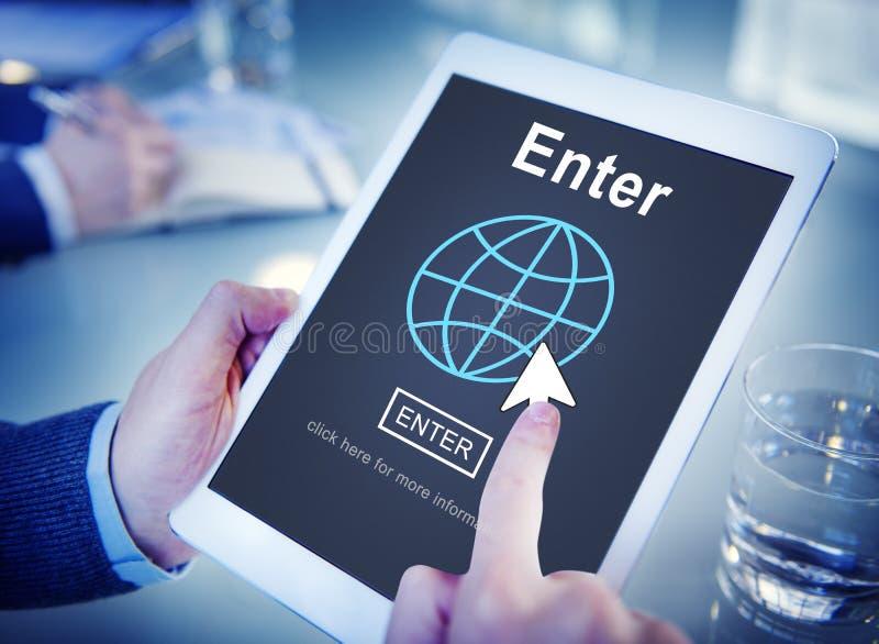 Войдите онлайн соедините концепцию технологии вебсайта стоковое изображение rf