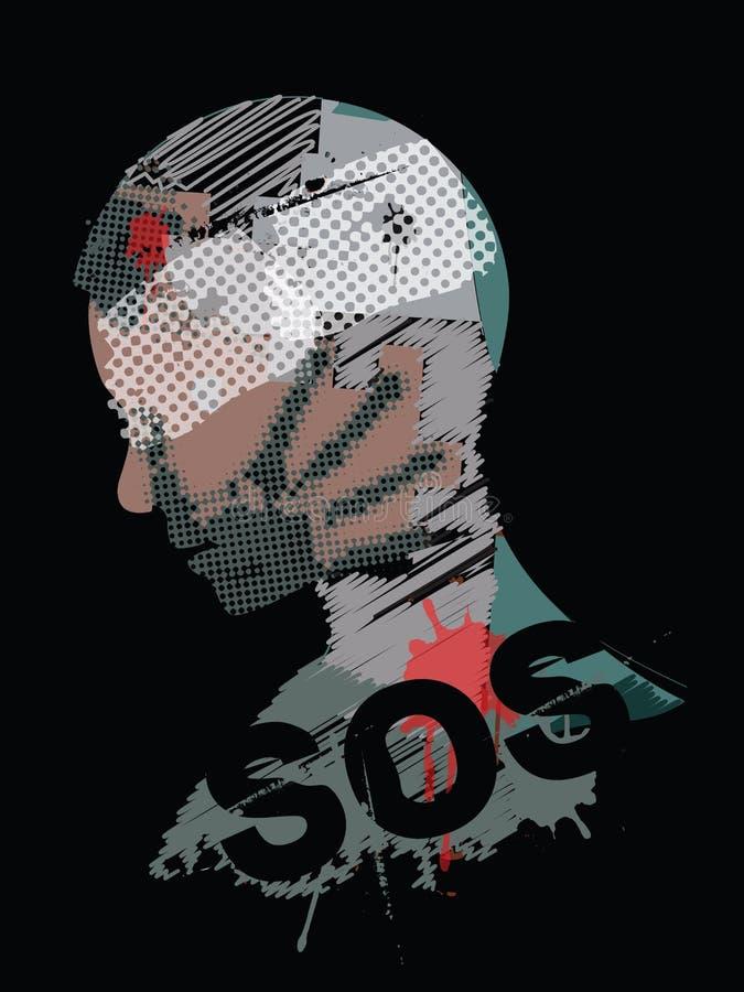 Война насилия SOS, молодой человек иллюстрация вектора