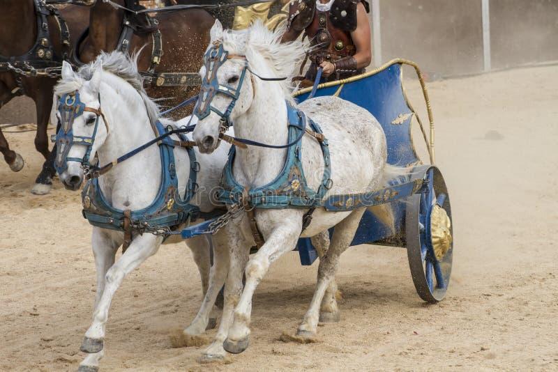 Война, римская колесница в бое гладиаторов, кровопролитном цирке стоковое изображение