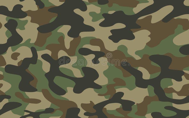 Войска текстуры camo печати камуфлируют звероловство зеленого цвета армии повторений безшовное иллюстрация вектора