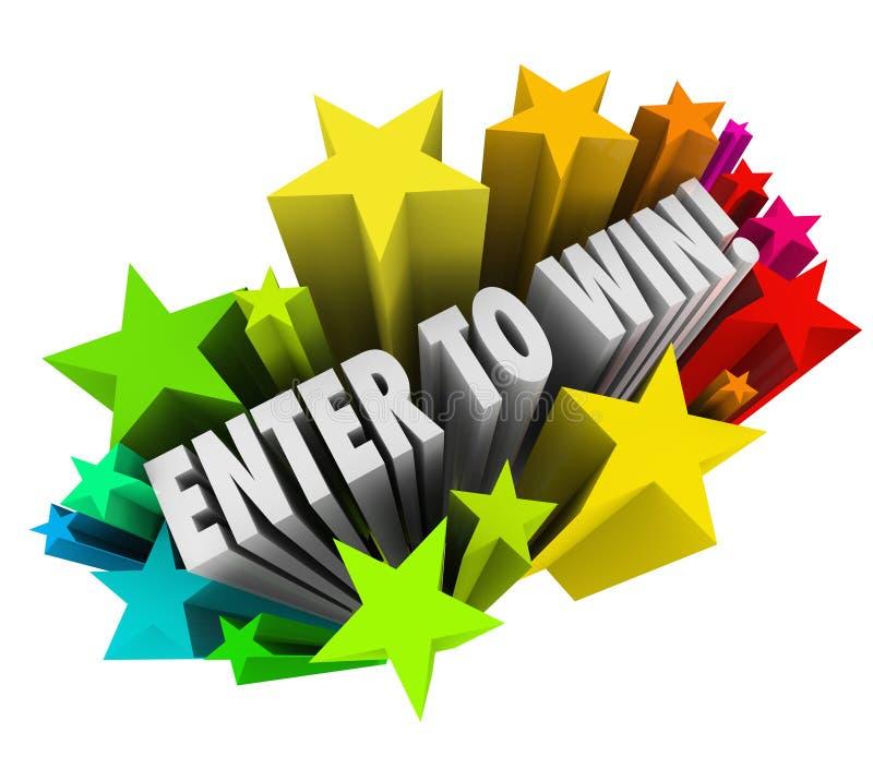 Войдите в для того чтобы выиграть джэкпот входа лотереи состязания фейерверков звезд иллюстрация штока