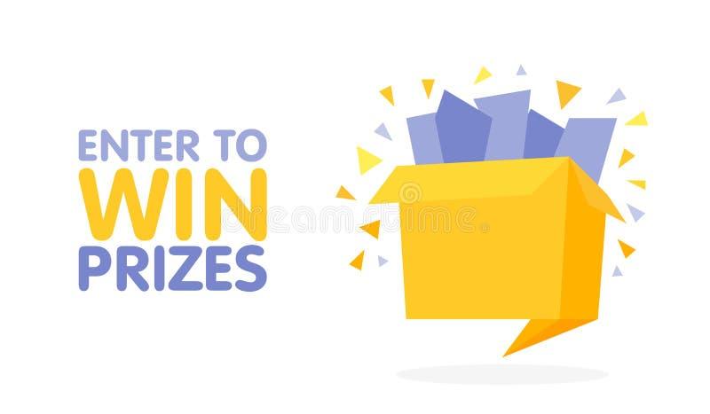 Войдите в для того чтобы выиграть подарочную коробку призов Иллюстрация стиля origami шаржа иллюстрация вектора