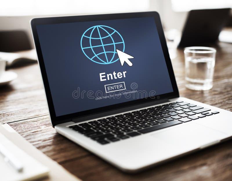 Войдите онлайн соедините концепцию технологии вебсайта стоковое фото