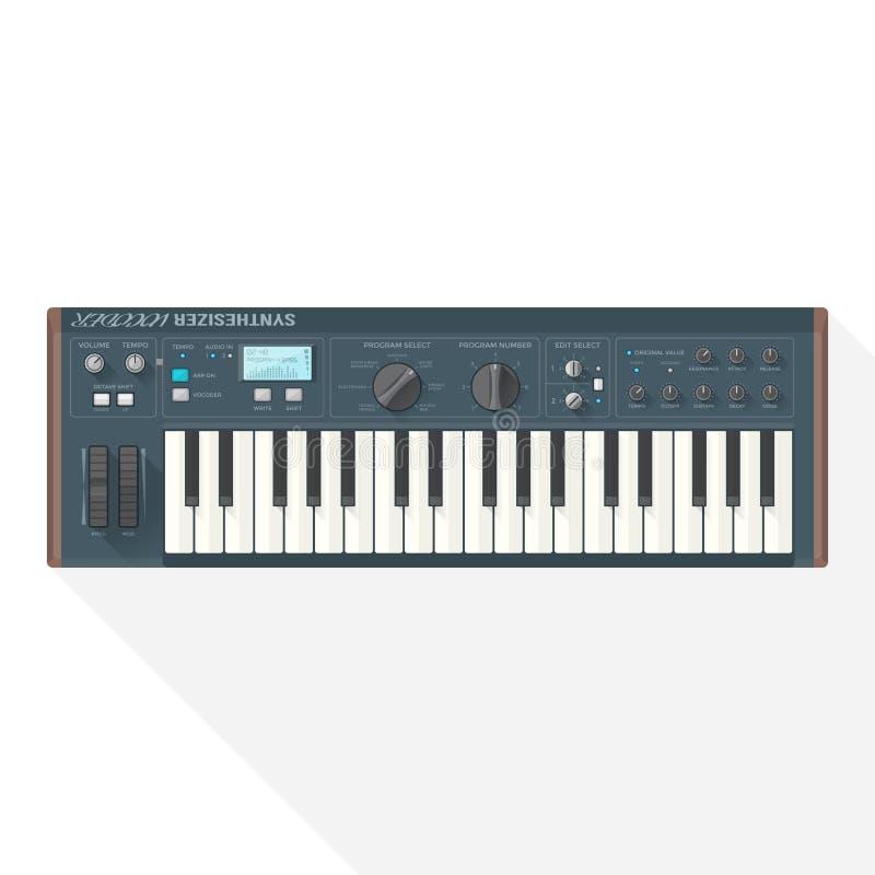Вокодер синтезатора крена рояля вектора стиля цвета плоский иллюстрация штока