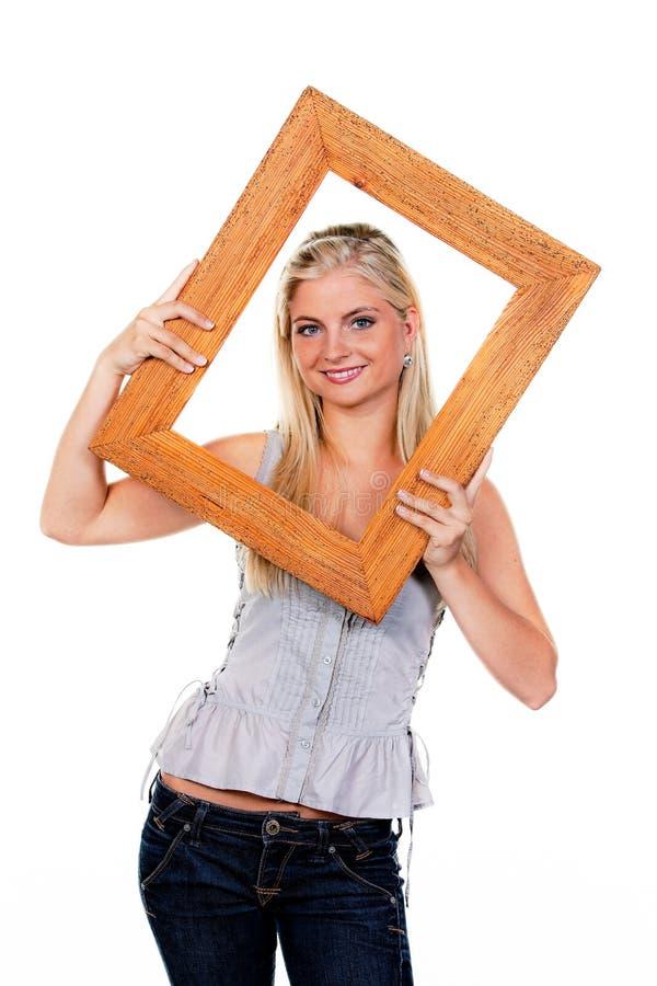 вокруг детенышей женщины изображения рамки стороны стоковая фотография