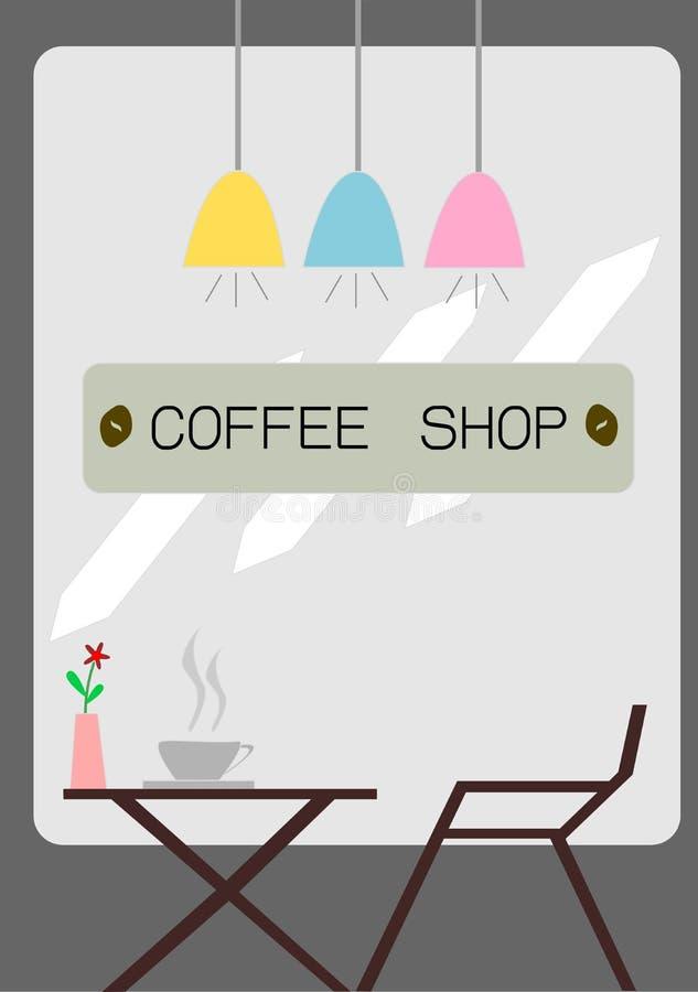 вокруг магазина кофейных чашек фасолей свежего иллюстрация вектора
