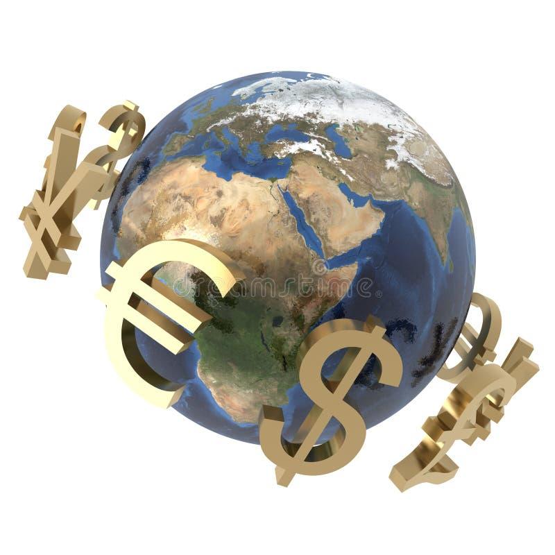 вокруг мира валют иллюстрация вектора