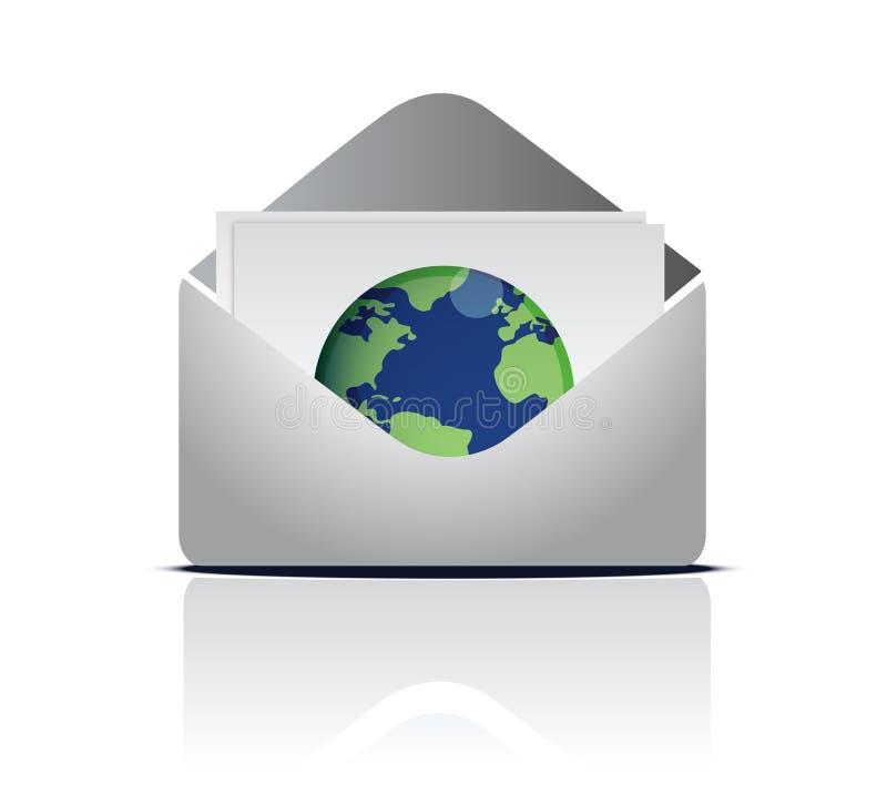 вокруг мира электронной почты иллюстрация вектора