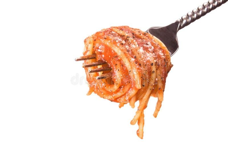 вокруг обернутого spagetti вилки стоковые фото