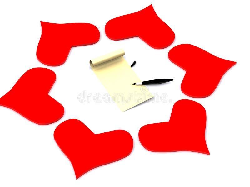 вокруг письма сердец иллюстрация вектора