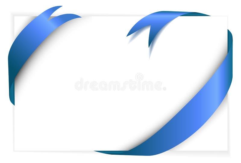 вокруг пустой белизны тесемки голубой бумаги иллюстрация вектора