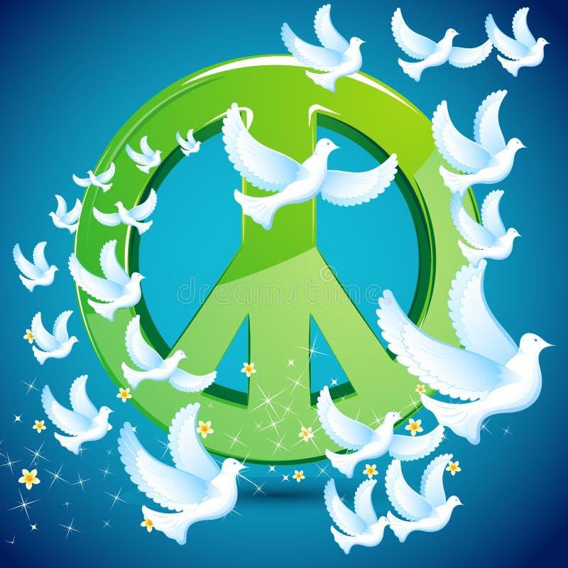 вокруг символа мира летания dove иллюстрация вектора